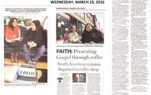 BooKafé Waterbury recebe visita de um jornalista do Republican-American, um jornal local da cidade