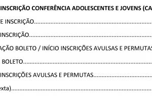 CRONOGRAMA INSCRIÇÃO CONFERÊNCIA ADOLESCENTES E JOVENS (CAJ) JANEIRO 2019