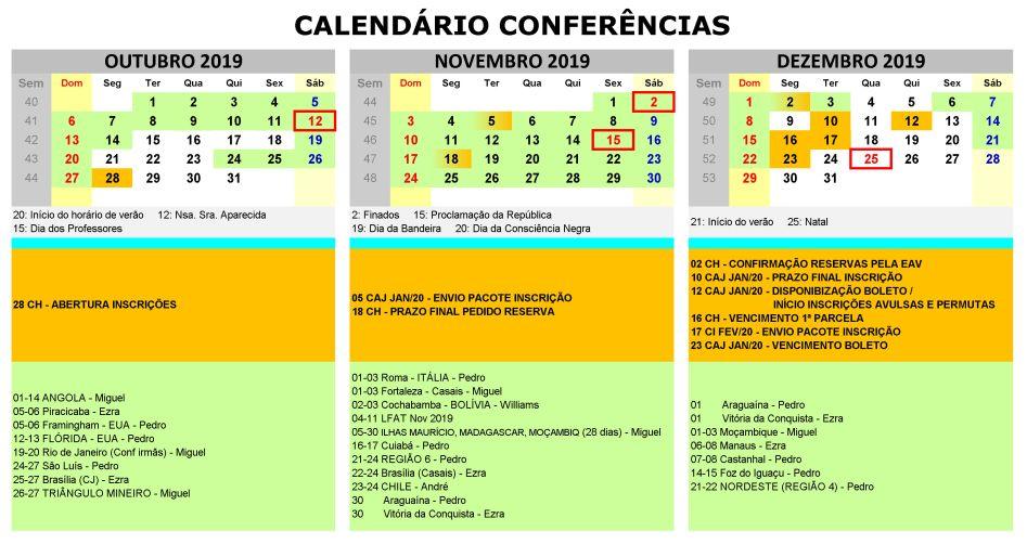 Calendário de Conferências 2019–2020 | IVPT - Instituto Vida