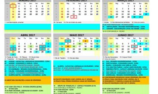Calendário Região 8B – MAIO/JUNHO 2017